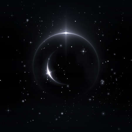 Mystische Formen in den Sternenhimmel, 3D-Illustration Standard-Bild - 69748141