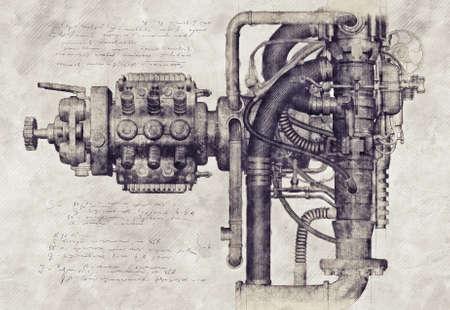 Disegno di una vecchia macchina, illustrazione 3D Archivio Fotografico - 71015335