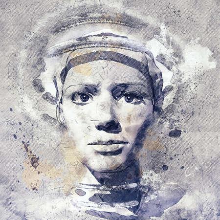 Portrait of a digital beauty, 3d illustration Stok Fotoğraf