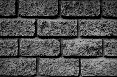 Stone brick wall in gray scale photo