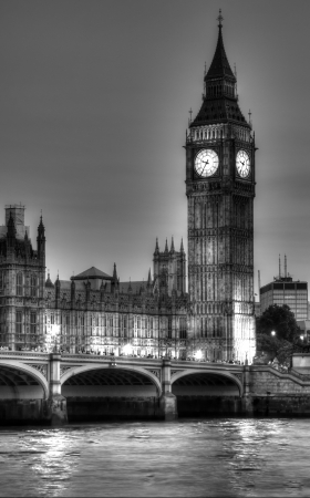 Black and White photo of Big Ben from the other side of Thames at night, London, United Kingdom photo