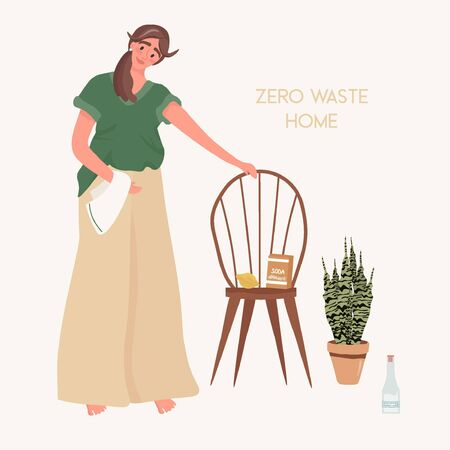 Zero waste home. Eco-friendly and easy to clean. Homemade cleaning products. Vinegar, lemon and soda in the cleaning. Nice vector flat illustration in cartoon style. Ilustracja