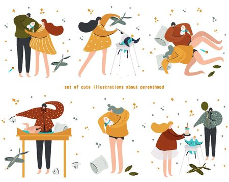 Set of cute vector illustrations about parenthood