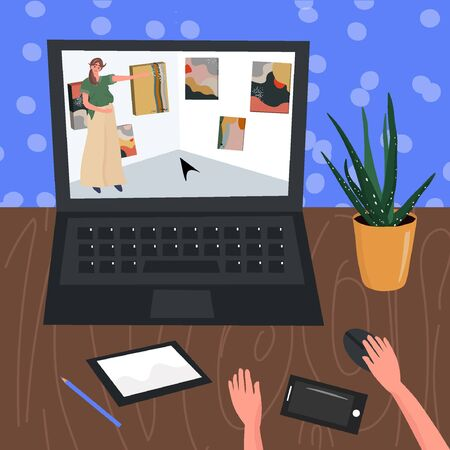 A virtual trip to the museum. Online visit to the art gallery. Contemporary art gallery. Home hobby for self isolation. Vector flat illustration with  a man who is watching an exhibition on a laptop.