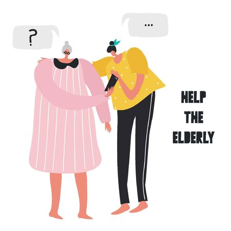 Vector illustration about helping the elderly. A young girl teaches grandmother how to use a smartphone. Modern technologies. Illustration