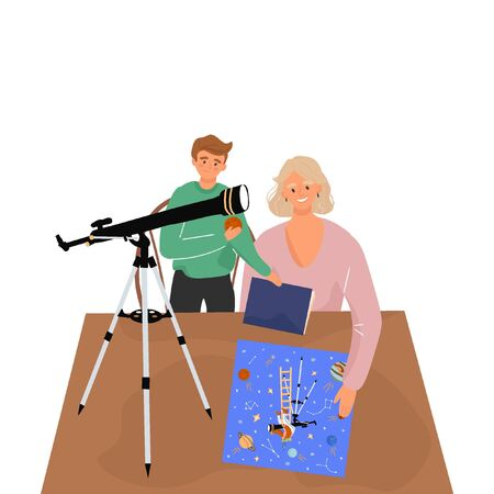 Mom and son are studying astronomy with a telescope.
