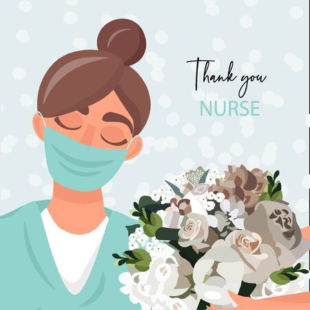 Nice vector card with thanks for fighting pandemic. Thank you doctor and nurse. 向量圖像