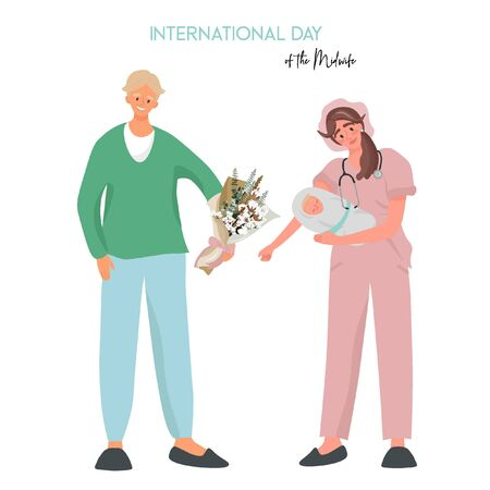 International Day of the Midwife. A midwife in uniform is holding a newborn baby in her arms. Pleasant flat vector illustration with a father who meets his newborn son.
