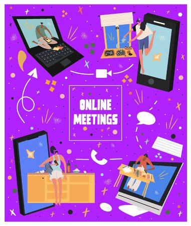 Online meetings concept. Online party. Online date. Meetings in the period of self-isolation. Bright vector flat poster about online meetings with friends. Illustration
