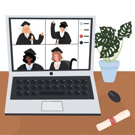 Online graduation. Nice vector flat illustration with graduates who communicate via video. Graduation in quarantine.