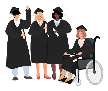 Graduates of different sex and nationality. Graduate in wheelchair. Flat vector portrait of graduates in uniform in cartoon style. Joyful graduates of a school or university with diplomas.