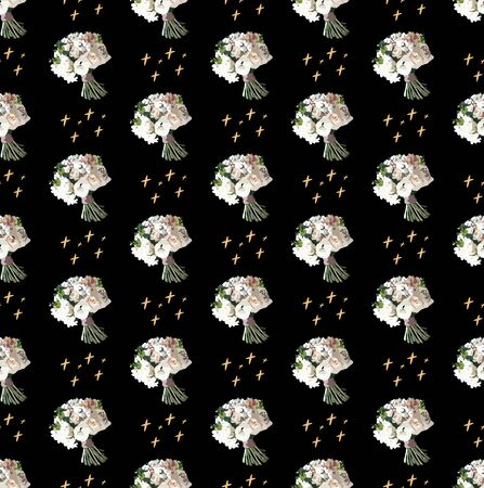 Bouquet flat vector seamless pattern. Floral patterns with stars. Bridal bouquet.