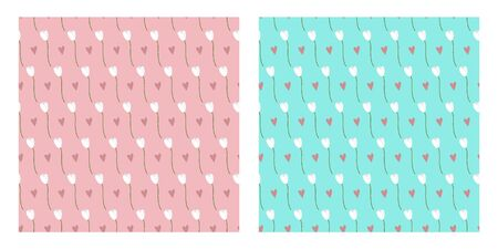 Tulips flat vector seamless pattern. Set of floral patterns with two background options.