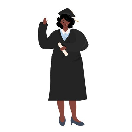 Flat vector illustration of an afro american girl in graduate uniform in cartoon style. A cheerful graduate of a school or university with an education diploma in her hands.