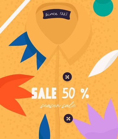 Seasonal sale, discounts. Funny vector flyer for seasonal discounts and summer clothing sales. Bright trendy shirt with an abstract print in flat cartoon style. 일러스트