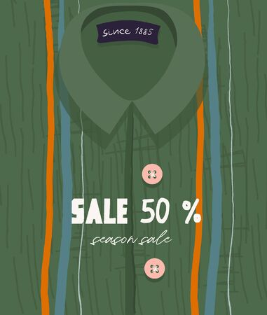 Seasonal sale, discounts. Funny vector green flyer for seasonal discounts and summer clothing sales. Bright trendy shirt with an abstract print in flat cartoon style.