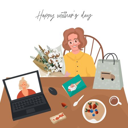 Happy mother's day online. Cute vector flat illustration for mom. An adult daughter and mother have breakfast together and celebrate Mother's Day by video. Bouquet for mom with delivery to home.