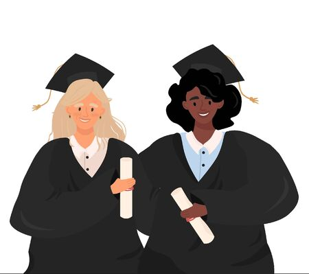 Graduates of different nationalities. Flat vector portrait of girls in graduate uniform in cartoon style. Joyful graduates of a school or university with an education diploma in hands.