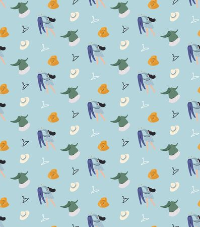 Clothes flat vector seamless pattern. Pattern with a girl who chooses clothes. Analysis of the wardrobe. 일러스트