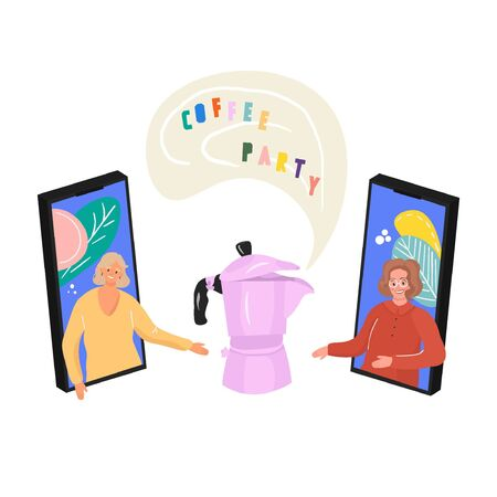 The concept of online meetings in the period of self-isolation. Nice flat vector illustration with girlfriends and geyser coffee maker. Coffee break online.