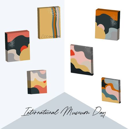 International Museum Day. Nice vector room of the museum of modern art. Contemporary painting.