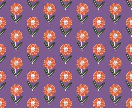 Flowers flat vector seamless pattern. Floral pattern.