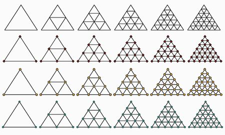 Vector clipart with different triangles on light background
