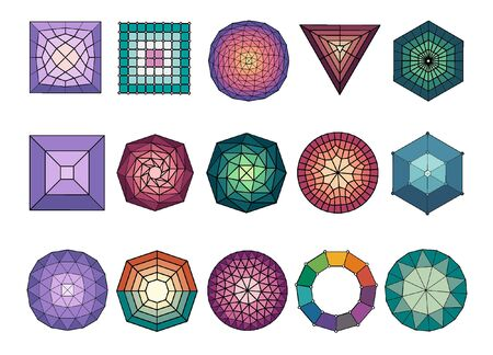 Set of 15 different colored geometric shapes. Abstract shape vector 일러스트