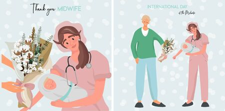 Set of nice flat vector greeting cards for International Day of the Midwife. Illustration with a father who meet his newborn son. A midwife in uniform is holding a newborn baby in her arms.  Stock Illustratie