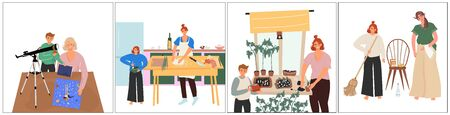 Happy mother's day. A set of nice vector flat illustrations with children who are make in daily activities with their mother: they cook, do homework, clean the house and take care of seedlings.
