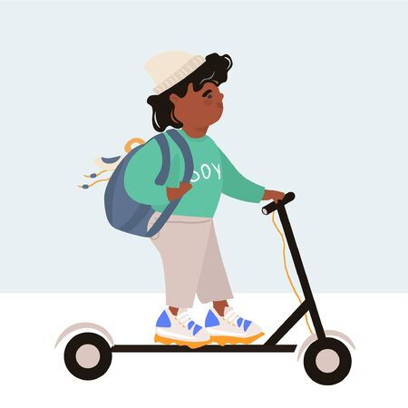 International Children's Day. Modern children. Afro american boy in trendy clothes with a backpack rides an electric scooter. Bright vector flat illustration in cartoon style.