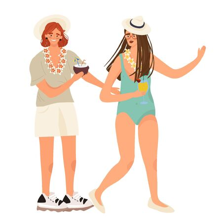 Joyful people on vacation. Girlfriends in trendy summer clothes communicate and hold tropical cocktails in their hands. Pleasant summer flat vector illustration in cartoon style.