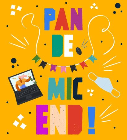 End of pandemic, end of quarantine. Festive bright flat cartoon style poster for summer festivals.