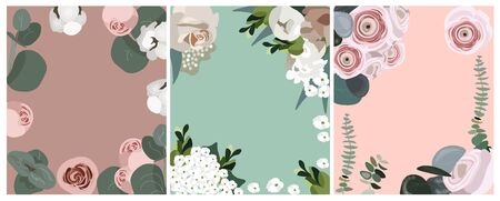 Set of nice vector flat floral backgrounds for summer and spring posters, flyers, wedding cards, festival and market. Powdery gentle pastel backgrounds with flowers and plants for different holidays.