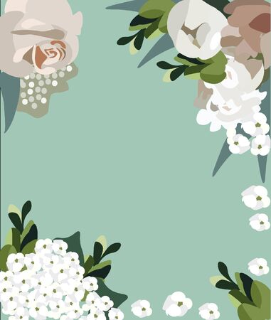 Tender nice vector flat floral background for summer and spring posters, flyers, wedding cards, festival and market. Pastel green background with blooming flowers for different holidays.