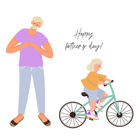 Happy father's day! Modern father and daughter. A happy father who taught his daughter how to ride a bike. Nice vector flat illustration for father's day in cartoon style.