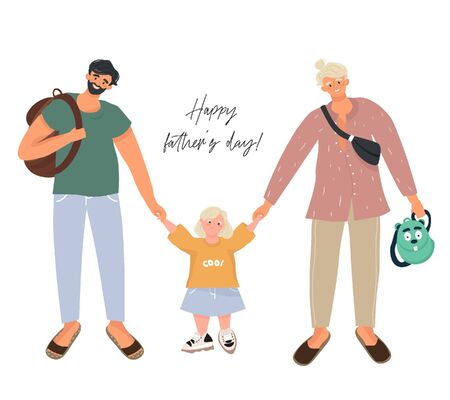 Happy father's day! Modern homosexual couple are walking with their adopted daughter. A non-standard family with two fathers. Nice vector flat illustration for father's day in cartoon style.