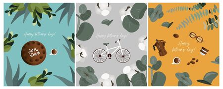 Happy father's day! Set of greeting card for dad with bike, cake, glasses, coffee on a trendy bright backgrounds with plants and flowers. Nice vector flat posters for father's day.