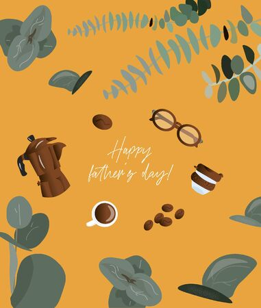 Happy father's day! Trendy greeting card for dad with glasses, coffee maker, coffee grains and keep cup on a bright yellow background with eucalyptus. Nice vector flat card for father's day. 일러스트