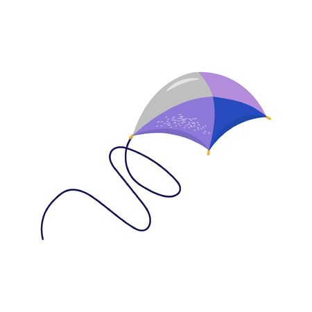 Flying kite in trendy blue and lilac colors. Nice vector flat illustration in cartoon style for indian festival and