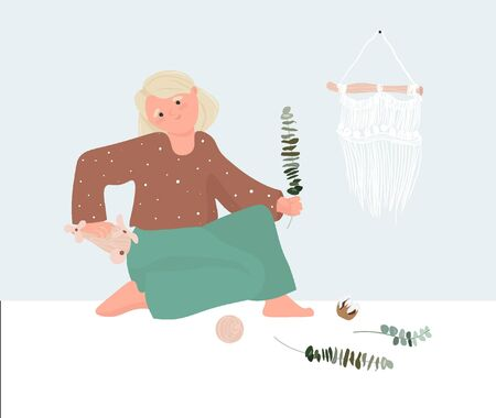 International Children's Day. Scandinavian girl playing with wooden toys and eucalyptus. Montessori parenting, minimalism. Pleasant vector illustration in cartoon style. 일러스트