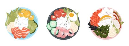 Healthy food. Set of healthy and satisfying poke bowls lunch made from rice, seafood, vegetables and cream cheese. Pleasant vector flat illustration of poke bowls in cartoon style. 일러스트