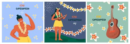 King Kamehameha Day. Set of nice vector flat postcards with ukulele and traditional hawaiian flowers, happy hawaiian woman and man residents in traditional hawaiian flower garlands.  일러스트