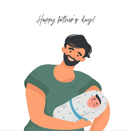 Happy father's day! Funny father and newborn son. Nice vector flat card for father's day in cartoon style.