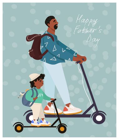 Happy father's day! Funny african american father and son on electric scooters. Nice vector flat card for father's day in cartoon style.