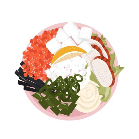 Healthy food. A healthy and satisfying poke bowl lunch made from rice, smoked eel, caviar, nori, tofu, lemon and cream cheese. Pleasant vector flat illustration of poke bowl in cartoon style.