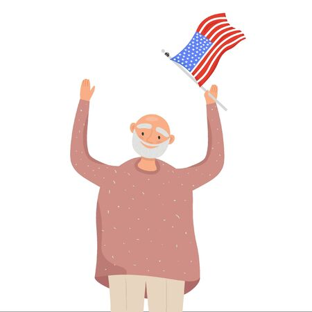 Flag Day. Nice vector flat illustration in cartoon style with old man with the American flag in his hand. Illustration in honor of the national holiday of Flag Day on June 14.