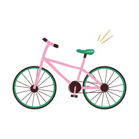 Pink vector flat bike with a green saddle on a white background. Nice vector flat illustration in cartoon style.