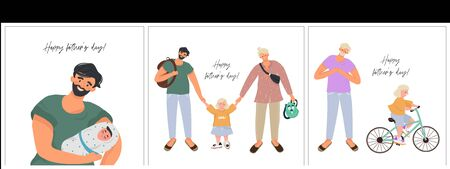 Big set vector flat illustrations for father's day in cartoon style! Modern homosexual couple and daughter. A non-standard family with two fathers.  일러스트