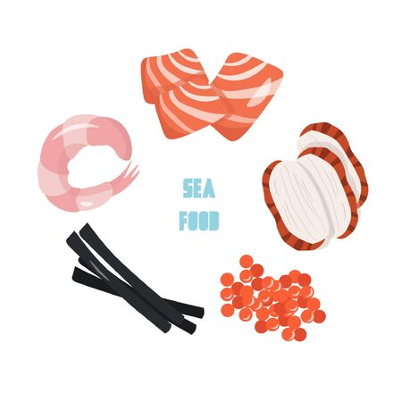 Sea food concept. Cute vector flat illustration with shrimp, slices of salmon and eel, caviar and nori in cartoon style.